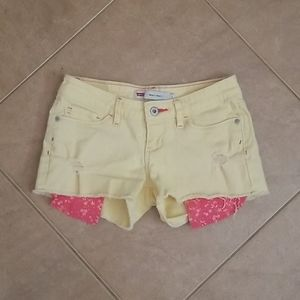 Levi's Yellow Lowrise Distressed Shorty Shorts